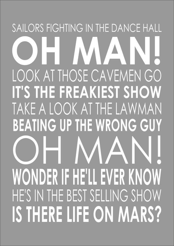 LIFE ON MARS - DAVID BOWIE - Word Wall Song Lyrics Verse Lyric Poster Print A4