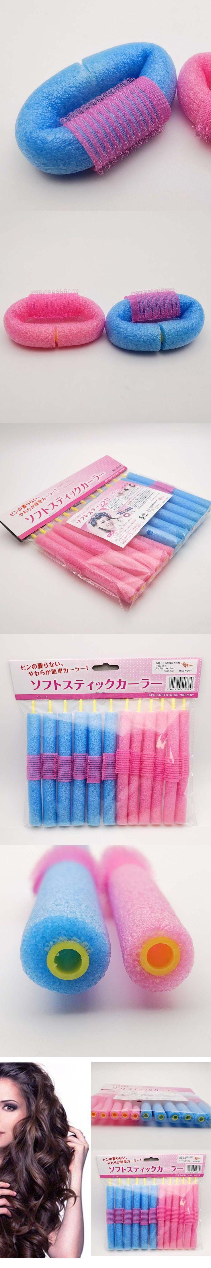 12pcs/pack Pearl Sponge Foam Curly Hair Roller Stick Self-adhesive Curling Tools Soft Curling Hair