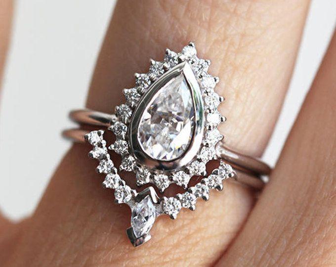 Pear Diamond Ring Set, Art Deco Diamond Ring Set, Diamond Engagement Ring Set, Bridal Set, Pear Cut Enagement Ring, Minimalvs