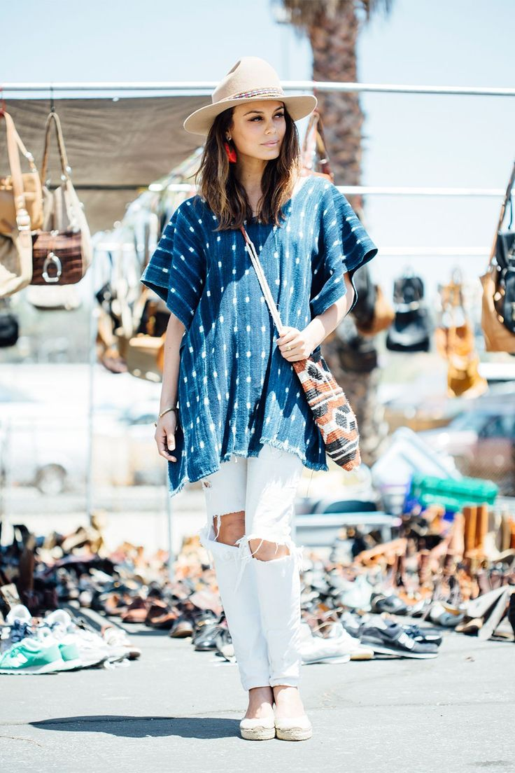 27 Rad Street-Style Snaps From L.A.'s Rose Bowl Flea Market #refinery29  http://www.refinery29.com/2015/05/87815/rose-bowl-flea-market-street-style-pictures#slide-21  Name: Nathalie KelleyJob: ActressWhite denim and beige accessories look anything but prim when topped with a poncho and woven bag.