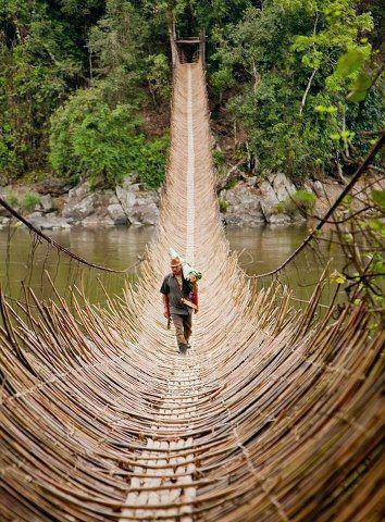 This is a hanging bridge over Yomgo river,at Kabu,a village in Arunachal Pradesh in India....locally it is called Gom.Have been on it many times...great place for fishing n picnicking .