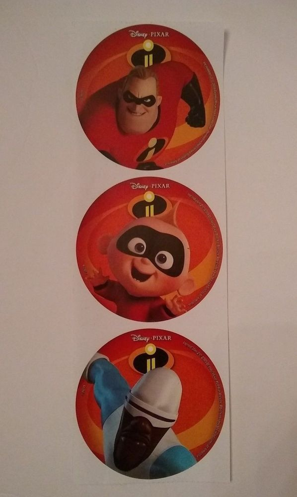 details about lot of 3 2018 mcdonalds the incredibles 2 stickers frozone baby jack dad storybook tv and movie characters pinterest