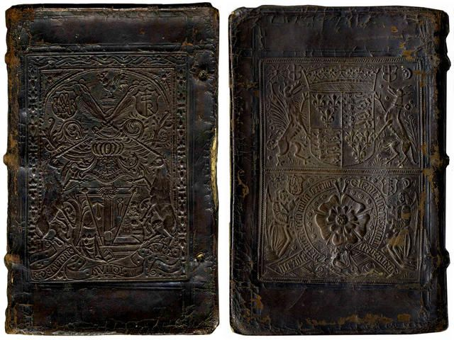 HERODIAN Historici THOMAS CRANMER'S COPY, UNRESTORED LONDON BINDING BY JOHN REYNES. Cranmer had an extensive library, but few of his books seem to have survived in their original bindings. The front cover panel is copied from a cut used by the Paris printer Thielman Kerver, and the fact that the lower cover is in the second state, with Katherine of Aragon's pomegranate replaced, leads us to date the binding to about 1531 or soon after, the time when Katherine was sent from court.