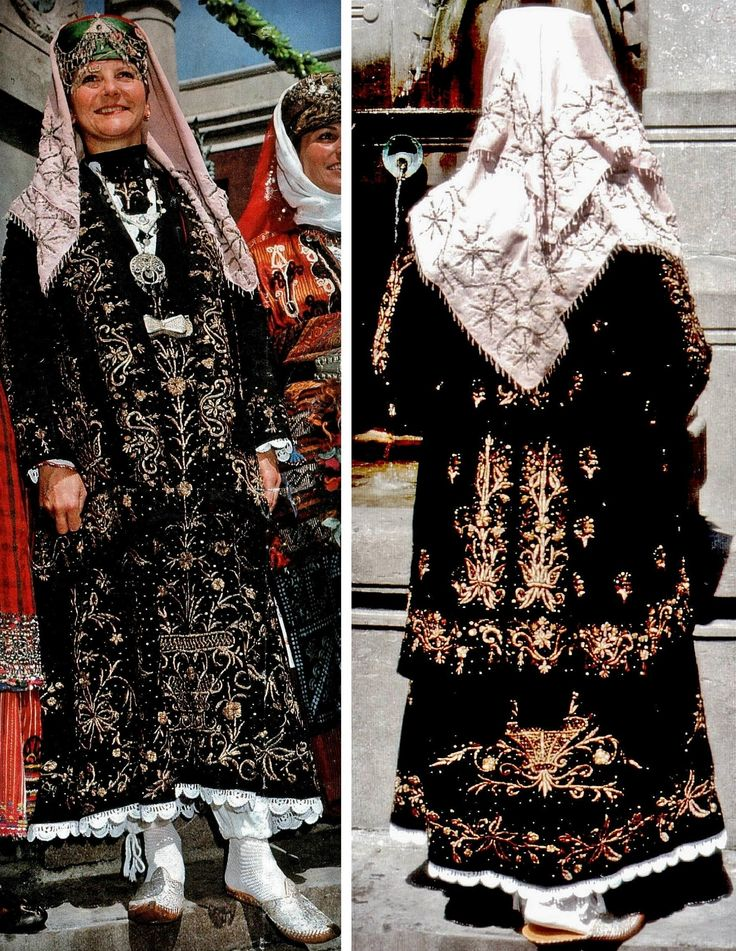 Festive urban costume with 'bindallı entari & cepken' (embroidered robe and long vest). Late-Ottoman, from Konya, circa 1800. Adorned with goldwork embroidery on velvet, minuscule golden spirals and small copper sequins. Embroidery technique: 'sarma' / 'Maraş işi'. (Kavak Folklor Ekibi & Costume Collection - Antwerpen/Belgium).