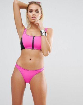 Розовый купальник бикини из неопрена с молнией Body Glove