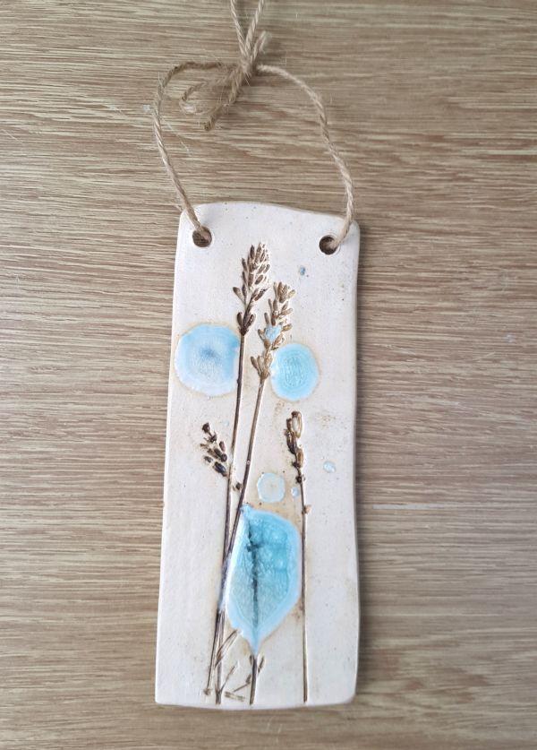 Turquoise Lavender Ceramic Plaque