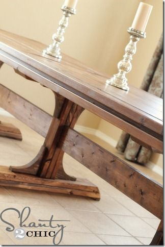 Diy dining table triple pedestal farmhouse stains for Pedestal trestle dining table plans