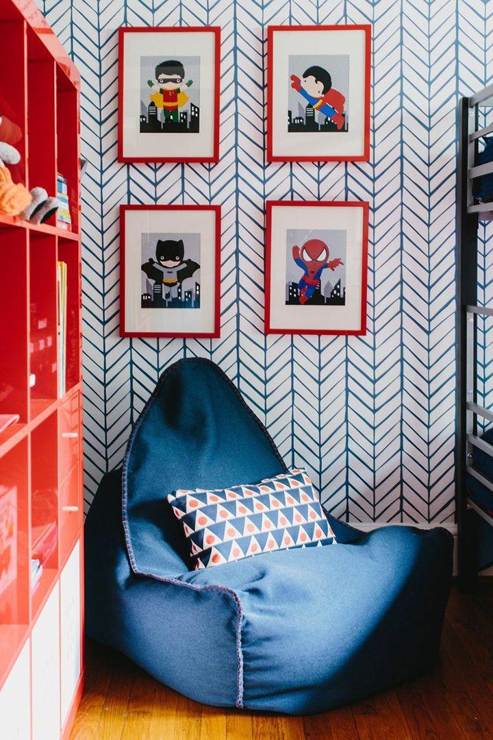 Decoração de: Detalhes; pufe estofado azul; Casa de Valentina