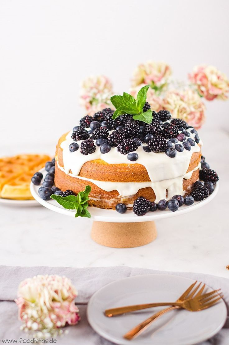Waffle cake with coffee syrup & berry mascarpone topping