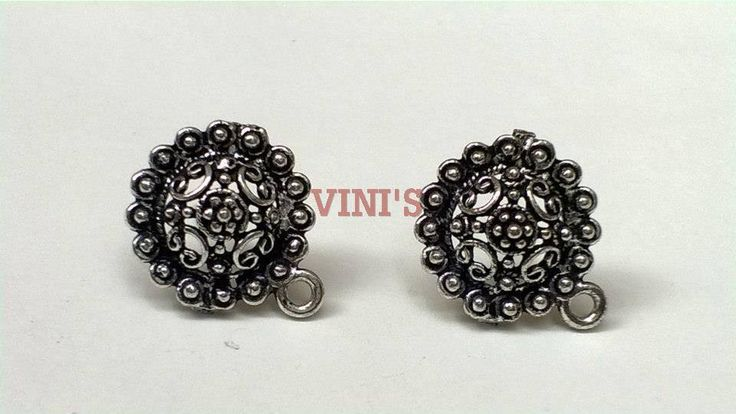 SH6 Antique Silver stud base with loop Stud size 15mm, With Rubber stopper Rs- 24/pair