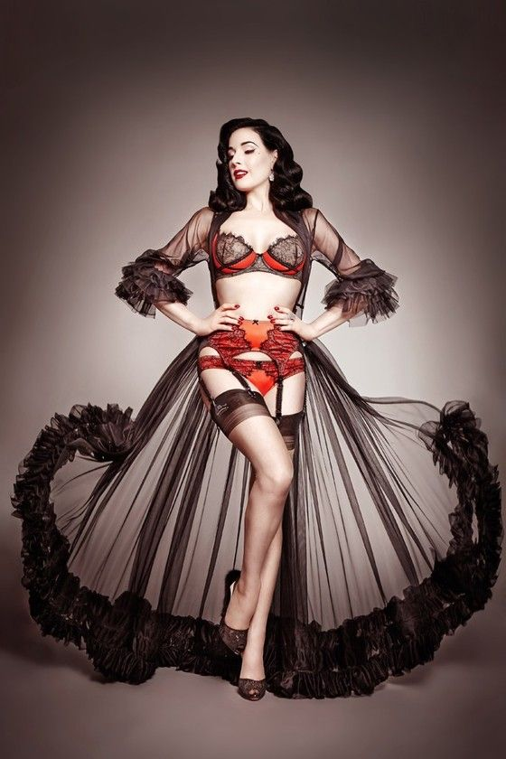 """Mancatcher"". Beautiful vintage pin-up style lingerie sheer dressinggown, negligee by Dita Von Teese."