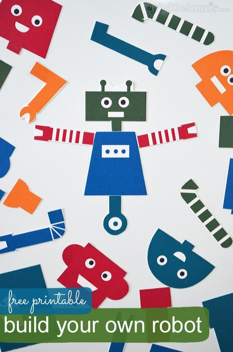 Printable robot parts so kids can build their own robot! Turn them into magnets, etc.