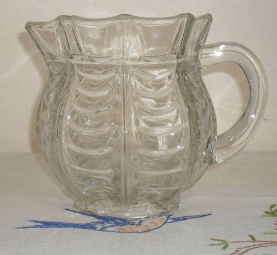 Vintage Glass Spider Web Water Jug by AuntyDollsWardrobe on Etsy