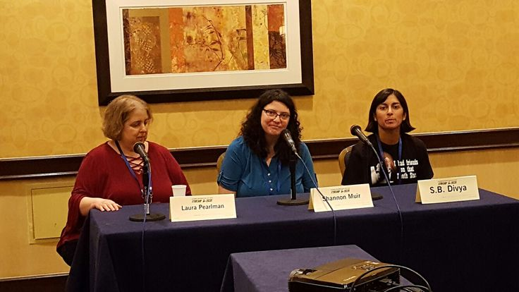 "With Laura Pearlman and S.B. Divya talking ""Science Fiction and Fantasy Podcasts"" Friday night at Loscon 43"