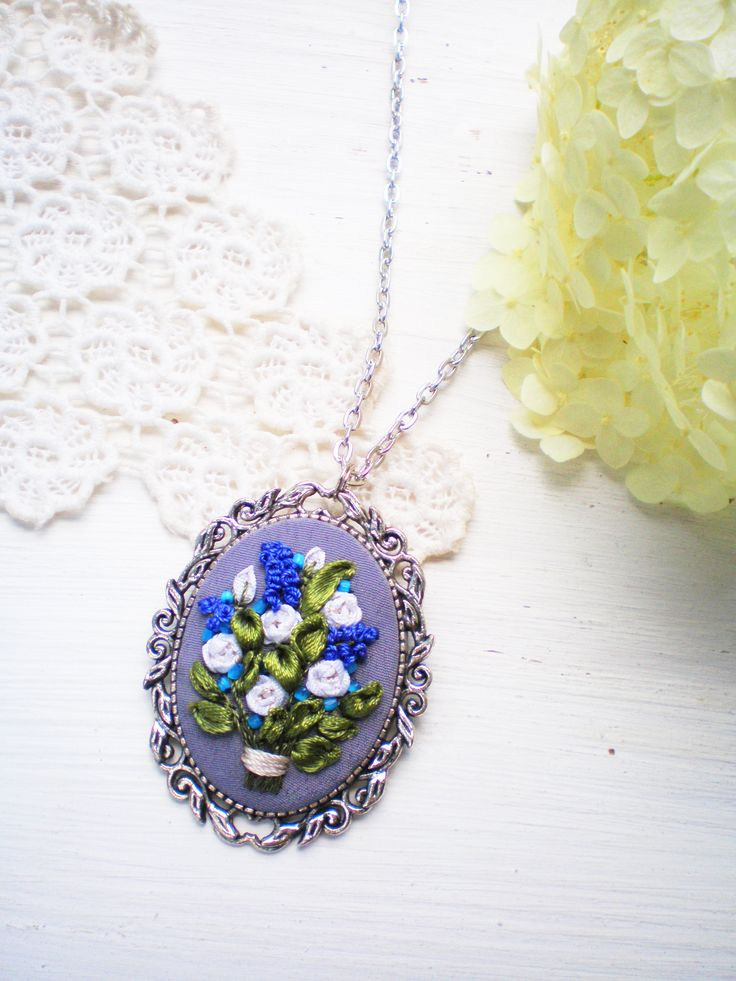 Bright white rose blue flowers silk ribbon embroidery necklace by Bogdana Prots