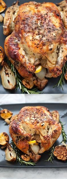 Oven Roasted Chicken with Lemon Rosemary Garlic Butter is crispy on the outside, juicy on the inside | http://foodiecrush.com