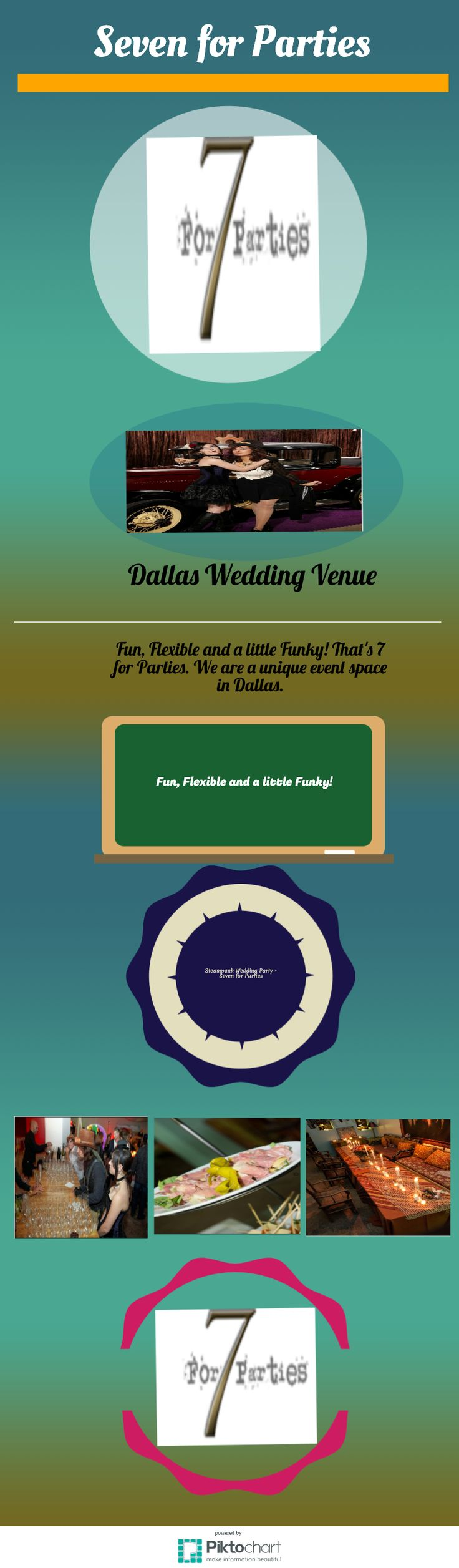 7forparties makes the perfect Dallas wedding venue, with bundles intended to upgrade all your wedding events. Your wedding and gathering catering is given by Central 214, offering mouthwatering American cooking and a presentation that will make your Dallas wedding or gathering occasion positively memorable. http://www.7forparties.com/node/59