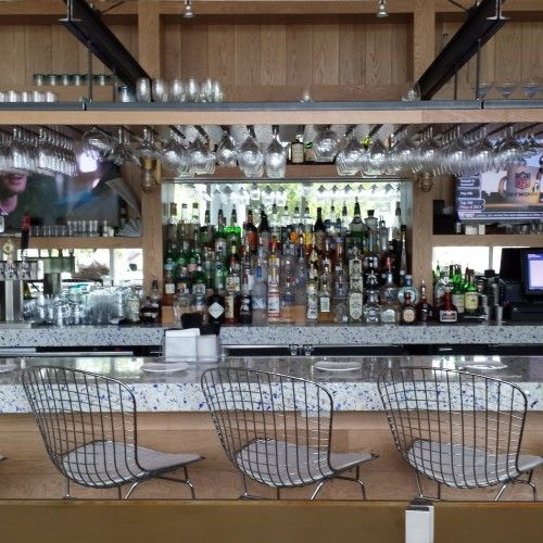 Chivalry Blue Vetrazzo glass bar at Caracol Restaurant in Houston, TX.