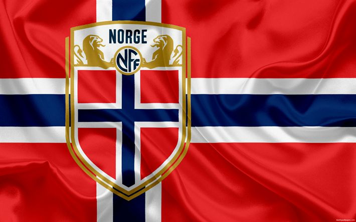Download wallpapers Norway national football team, emblem, logo, football federation, flag, Europe, flag of Norway, football, World Cup