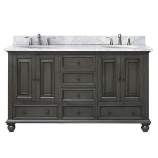 Avanity Thompson 61 Inch Double Sink Vanity Combo In Charcoal Glaze Finish  (Charcoal/Black), Size Double Vanities
