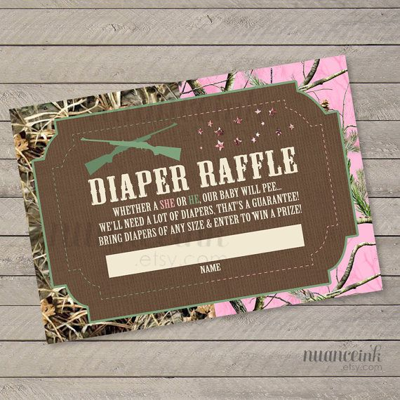 Guns or Glitter Gender Reveal Baby Shower Diaper Raffle Tickets Printed or Digital Copy 24 Hr Turnaround! Camo or Pink