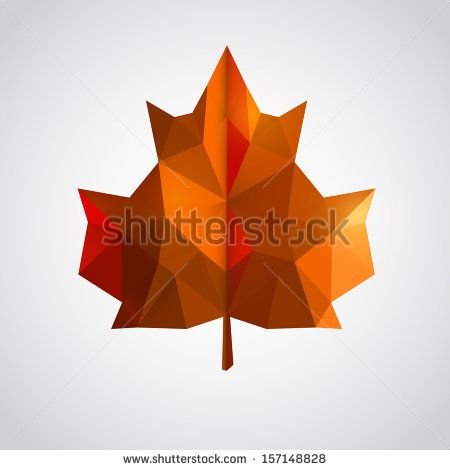 Low poly yellow leaf. Vector illustration - stock vector