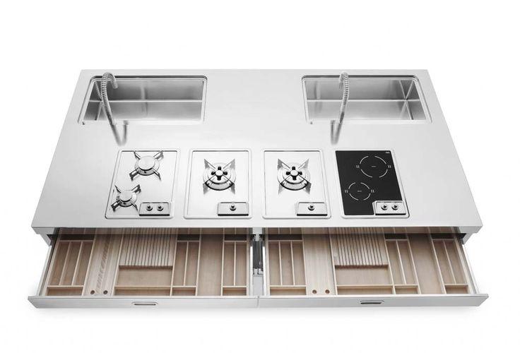 Alpes Inox - KITCHEN ISLANDS 250 - Kitchen island units with sink, hob, storage, refrigerator and wine cooler.