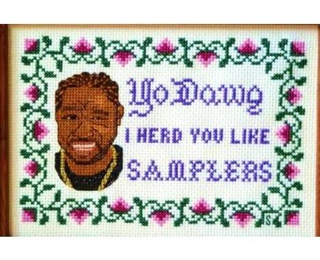 stitches rapper | 55 Eclectic Embroidery Features - From Cross-Stitched Rap Lyrics to ...