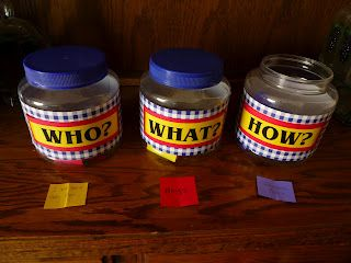 Who, What, How Jars to review songs - the kids pick a who (who sings) what (which song it will be) and how (how are they going to sing - quiet? humming?)