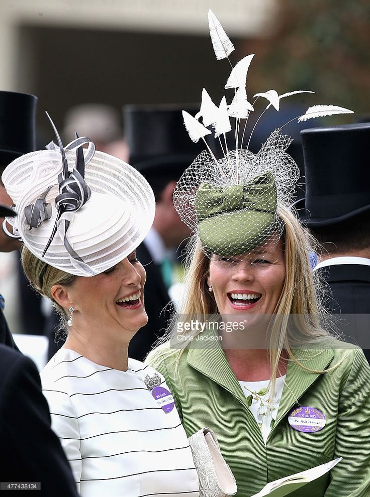 Sophie, Countess of Wessex and Autumn Phillips share a joke in the parade ring on day 2 of Royal Ascot at Ascot Racecourse on June 17, 2015 in Ascot, England. (Photo by Chris Jackson/Getty Images)