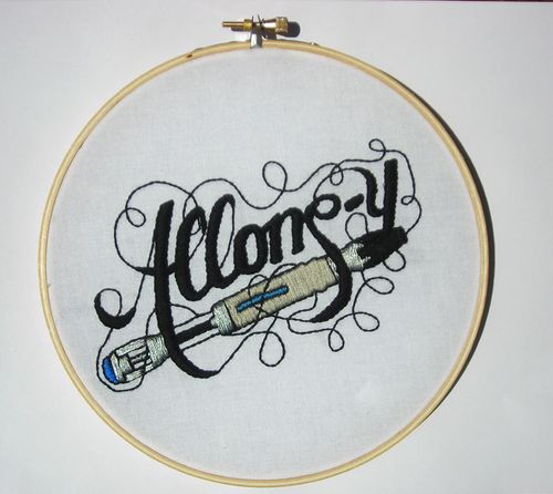 Doctor Who Allons-y embroidery hoop