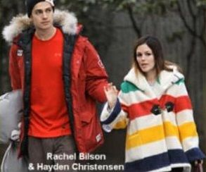 Hayden Christensen and Rachel Bilson couple were wearing Hudson's bay official Olympics clothing in Vancouver 2010 #MKM915 #hudsonsbay #olympics