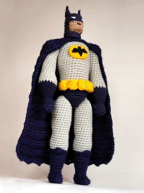 Crochet pattern for super realistic doll of Batman! This is almost a crochet action figure :D Completed Batman amigurumi will measure about 36 cm /