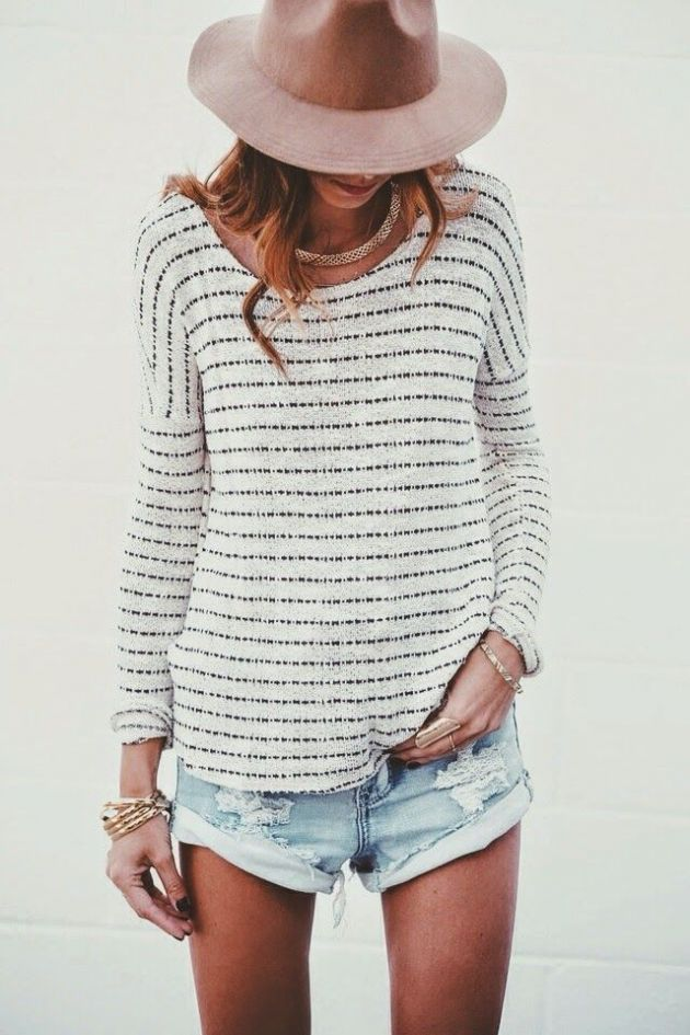 relaxed summer look, thin jumper, denim shorts and hat