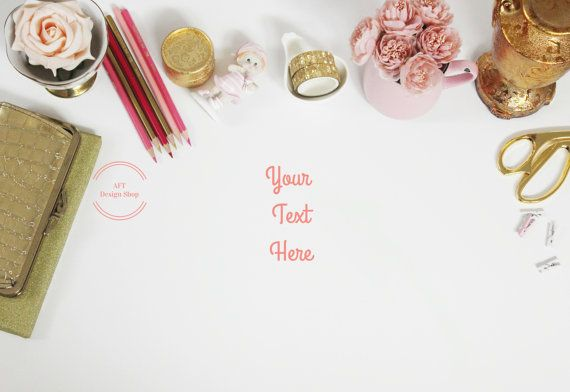 ♥ Beautifully styled stock photography mockup featuring a gold bag + lovely roses + gold pencils + gold scissors + gold washi tape and white