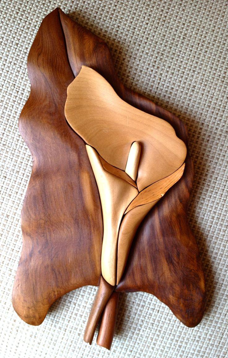 Wood Inlay Calla Lily wall Hanging. $45.00, via Etsy.