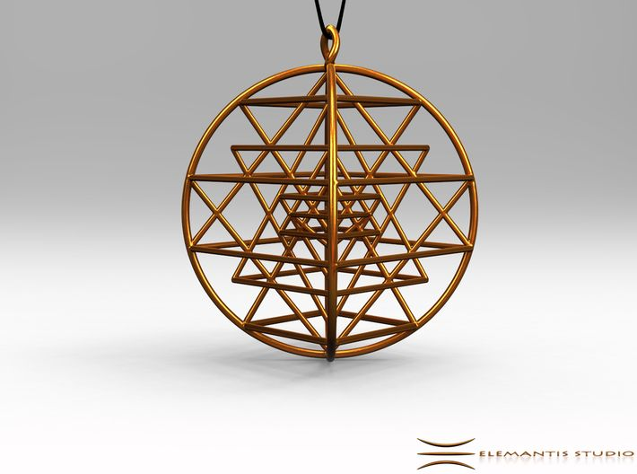 3d Sri-Yantra 4.5cm (Raw Metals) 3d printed Pendant cord not included