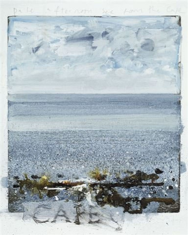Kurt Jackson Pale afternoon sea from the cape 28 x 24 cm mixed media, collage and etching