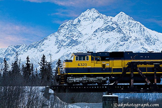 The Alaska Railroad travels between Anchorage Fairbanks all winter long. Gorgeous trip!