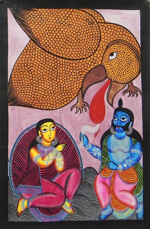 Jatayu Battles with Ravana to Rescue Sita- Bengal Folk Art or Kalighat Painting $46.00 only