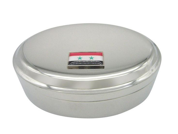Thin Bordered Syria Flag Oval Trinket Jewelry Box