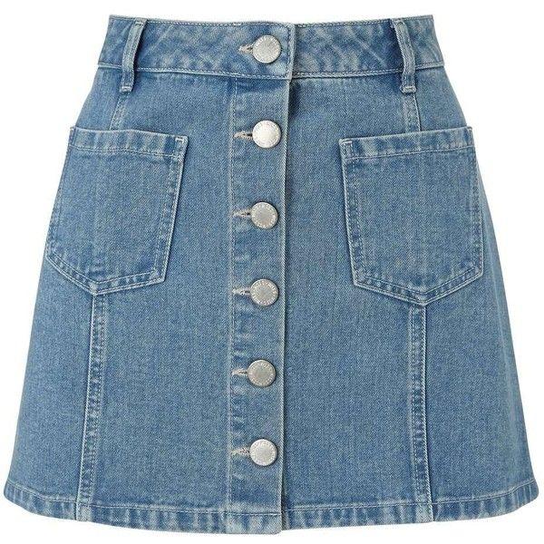 Miss Selfridge Petites Blue Denim Mini Skirt ($32) ❤ liked on Polyvore featuring skirts, mini skirts, mid blue, petite, denim miniskirt, a line denim skirt, short denim skirts, petite skirts and denim mini skirt