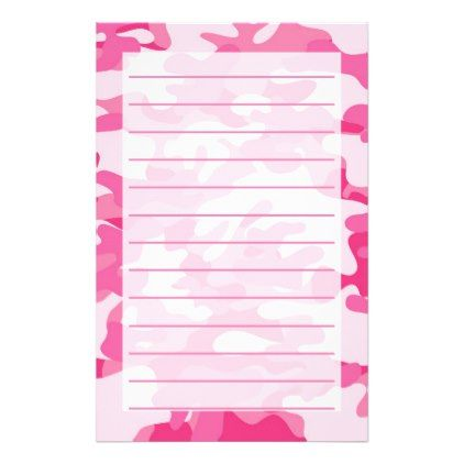 Pretty Pink Colors Camouflage Pattern Stationery - patterns pattern special unique design gift idea diy