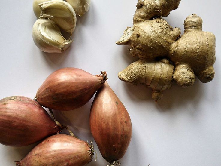 Gember, knoflook en sjalotjes