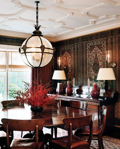 I like this different dining room ceiling.    Los Angeles, California | Ferguson & Shamamian
