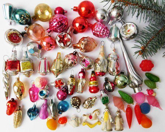 Miniature Christmas Ornaments.65 Miniature Mini Vintage Antique Christmas Ornaments And 1