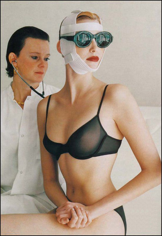 Nadja Auermann photographed by Helmut Newton for Vogue US.