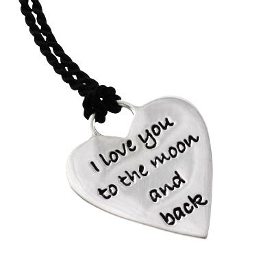 """Sterling silver poetry heart necklace on silk cord.  """"I love you to the moon and back"""""""