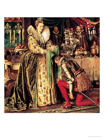 Queen Elizabeth I knighting Sir Francis Drake