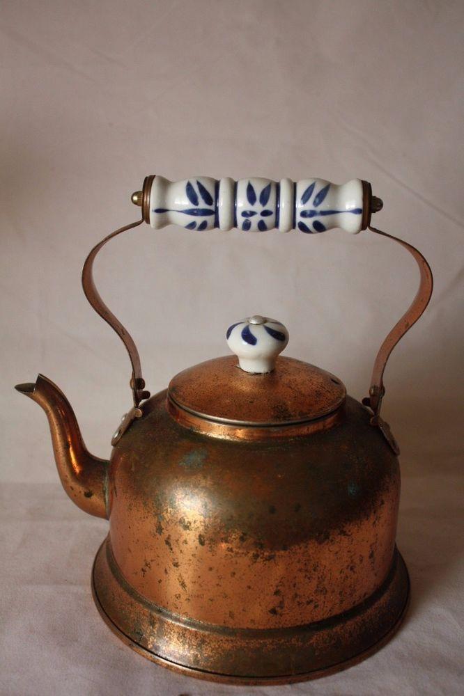 Vintage Copper Tea Kettle Porcelain Handle Delft Blue In